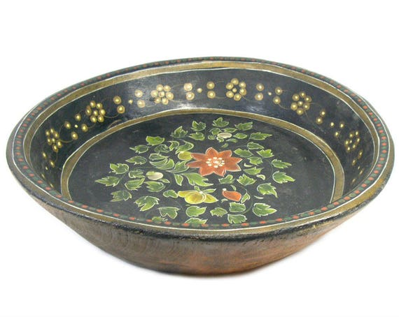 Antique Wooden Trencher Bowl with a Painted Floral Design