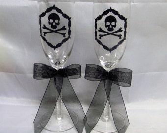 Wedding Party Skull and Bones Biker Cake Gothic Goth Toasting Glasses