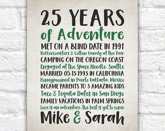 Years of Adventure, Customized Anniversary Word Art, Choose ANY year, date, 25th Wedding Anniversary, Unique Gift for Wife, Husband WF599