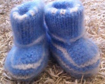 Baby booties real wool blue