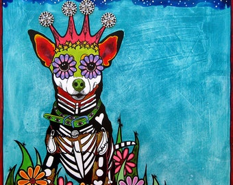 Chihuahua Art Print, Mexican Decor, Day of the Dead, Sugar Skull, Dog, Trending Now, Mexico Decor, Best Selling Art, Top Selling, RobiniArt