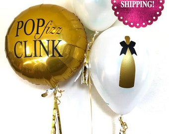 Pop Fizz Clink Balloon. Champagne Balloon. Birthday Party Decorations. New Years Eve Balloons. Party Balloons. New Years Eve Party Decor.