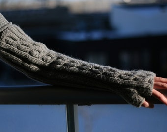 Hand Knit Arm Warmers, Fingerless Mitts – Extra-Long (17.5in, 44cm) - Many Colours Available - Made to Order