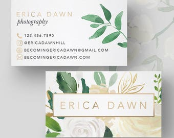 Elegant White Floral Greenery and Gold Business Card // Photography Business Card // Feminine and Modern