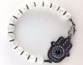 Hamsa Quartz Crystal Beaded Bracelet