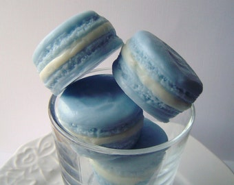 French Macaron - French Macaroon Goat Milk Soap - Blueberry Delight Scent, wedding favor, Gift for Her, soap favor, Mothers Day, Shaped soap