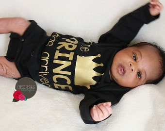 Prince Has Arrived newborn boy black and gold  bodysuit ,take home outfit , Newborn boy hospital gown , Baby Boy Gift