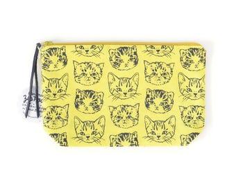 Cute Cats Medium Boxy Zipper Pouch   Original Fabric Design   Green-Gold Mustard-Yellow