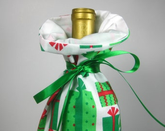 Gift Boxes in Red and Green, Class Wrap Wine Gift Bag