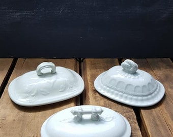 Lot Of Three White Ironstone Soap Dish Lids