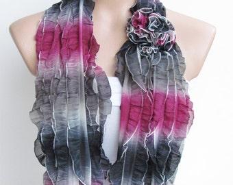 Pink Gary and Cream Ruffle Scarf-Circle Scarf -Infinity Loop Scarf-Neckwarmer-Cowl Scarf-Fashion Scarf- Chunky Scarf-Frilly Scarf