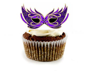 Masquerade Masks- 5 different colors- Masquerade Mask Cupcake Toppers- Download instantly and print- 15 print per sheet unlimited prints-