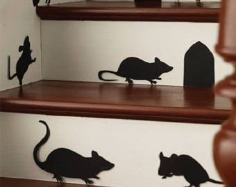 Mice qty 6 with 2 holes #1 or 5 Mice (with bow tails) 2 Holes #2 ~ Wall or Window Decal
