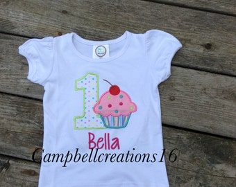 Cupcake first birthday shirt / first birthday shirt / cupcake shirt / cupcake first birthday / first birthday embroidery shirt