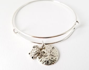 Beautiful silver plated bangle bracelet with turtle and sand dollar