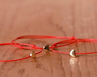 Red string bracelet, Heart bracelet, Kabbalah bracelet, Golden Heart bracelet, Amulet bracelet, Protection bracelet,Love Friendship Bracelet