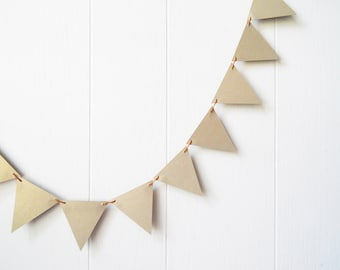 Gold Triangle Bunting / Garland  5 ft