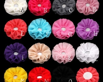 """Free Shiipping 30pcs 4"""" 15colors Solid DIY Big Ruffled Chiffon Flower For Children Hair Accessories Artificial Fabric Flowers For Headbands"""