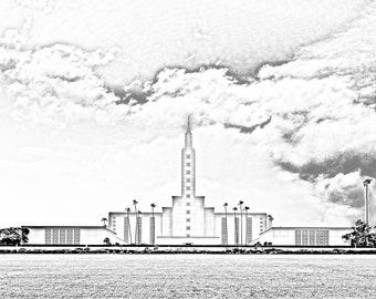Digital Download: Los Angeles California Temple Pencil Effect