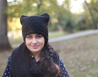 Chunky Wool Crochet Black Cat Ear Hat // Chunky Crochet Black Cat Hat (Hat Only)