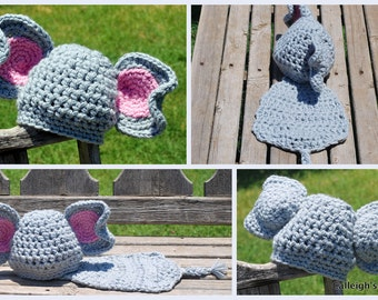 Instant Download Crochet Pattern - No. 22 Elephant -Cuddle Critter Cape Set -  Newborn Photography Prop