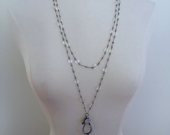 Crystal and Gunmetal Rosary Chain Necklace with Pave Feather Pendant and Pave Lobsrer Clasp