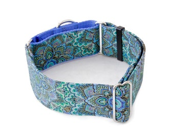 "Aquamarine Blooms Dog collar Martingale, Buckle 5/8""- 2"" Widths"