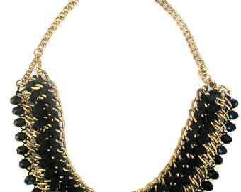 Black gold Bib Necklace,Black gold collar necklace,Statement Jewelry Etsy, Victorian jewelry,Royal ethnic Jewelry by Taneesi