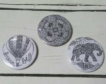 55mm Badges - Elephant - Mandala - Hot Air Balloon - Dream Big - Henna Mehndi Art - Pin Button Badge - Set of 3 - Flowers - Zentangle