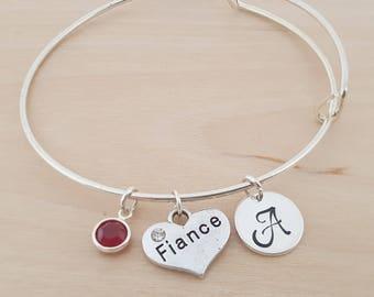 Fiance Bangle - Engagement Bangle - Heart Charm - Silver Adjustable Bangle - Personalized Bracelet Swarovski Crystal Birthstone Jewelry-Gift