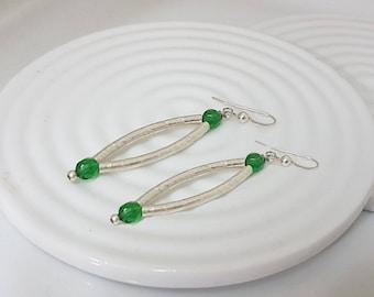 Eemerald green earrings, Marquise earrings sterling silver, May birthstone earrings, Silver green earrings