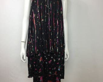 Vtg 70s silk jersey Missoni tiered ruffle skirt abstract avant garde wearable art dress