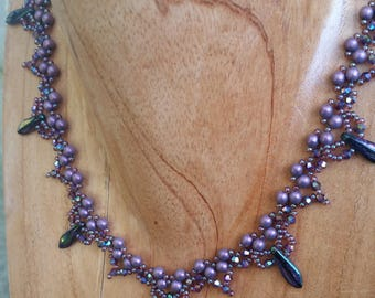 Necklace | Handmade | Beaded | Purple with Daggers