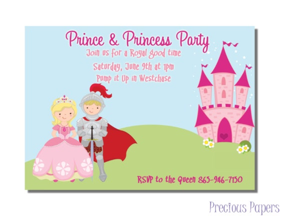 Prince and princess party invitations princess birthday party prince and princess party invitations princess birthday party invitations girls princess party printable download within 24 hours filmwisefo Images