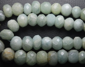 8 Inches Strand,Finest Quality Aquamarine Faceted Rondelles,12-13mm Large