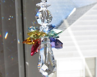 Chakra Angel Swarovski Crystal Suncatcher, Guardian Angel, Rainbow Wings, Angel Suncatcher, For Your Home, Made By Keira's Crystal Creations