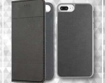 iPhone 8 Plus Leather, iPhone 7 Plus Wallet Case Credit Card Slots Function with Screen Protector for for men Black iPhone 7/8 Folio Case