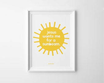 LDS Sunbeam 8x10 Printable // Jesus Wants Me For a Sunbeam // LDS primary song illustrated by Zion Nation