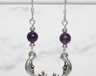 Celestial Moon and Stars Amethyst Earrings, Sterling Silver Beads, Sterling Silver Earwires