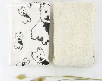 Organic Muslin And Organic Terry Towelling Baby Burping Cloths With West Highland Terrier Print, Large Burp Cloths Set, Westie Baby Gifts