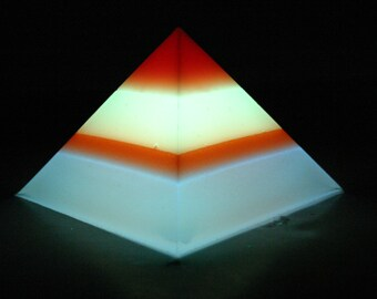 Banded Glow-in-the-Dark Pyramid - Large - 4-Band - red, green, orange, blue (top down)