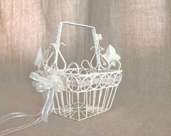 Dainty Metal Flower Girl Basket in Heirloom White / Shabby Petite  Basket in Heirloom White
