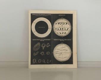 1857 THE SUN celestial print original antique astronomy lithograph - sunspots