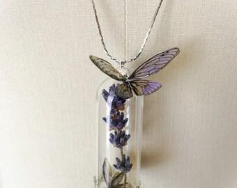 """Fairy terrarium and plant """"volatilis lavendula"""" necklace"""