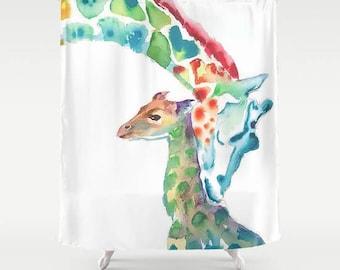 Giraffes Shower Curtain Jungle Shower Curtain sorority gift college girl shower curtain kids bathroom decor kids shower curtain giraffe