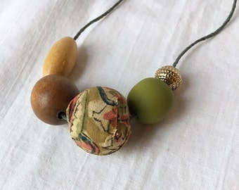 Market Necklace 11 / Clay, Fabric, and Wood Bead Necklace