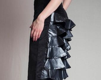 Bustle skirt, vegan leather and velvet skirt, metallic blue skirt, black gothic pencil skirt, high waist skirt, burlesque skirt ANDADA