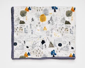 Woodland Camping Quilt, Little Boys Bedspread, Little boy quilt, Nursery Decor, Baby Boy Nursery, Baby quilt, Boy quilt, Security Blanket
