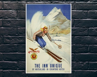Vintage Skiing Poster, The Inn Unique of Notchland in Crawford Notch Travel Poster, Vintage Travel Poster Print, Sticker and Canvas Print