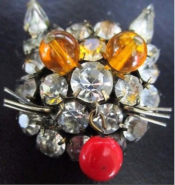 Groovy Cray Cray Mid Century Rhinestone Vintage Funky Kitty Cat Pin Brooch with Red Bead Tongue!
